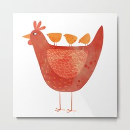 Hen and Chicks Metal Print