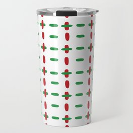 Christmas vector red and green horizontal and vertical stitches aligned on white background seamless Travel Mug