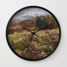 Rain clouds sweeping through the mountains near Blea Tarn. Cumbria, UK. Wall Clock