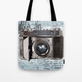 Blue Vintage Camera Art Tote Bag