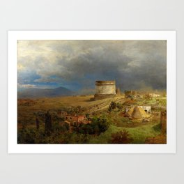Via Appia with the Tomb of Caecilia Metella in Roman Italian Countryside by Oswald Achenbach Art Print