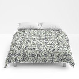 Giant money background 100 dollar bills / 3D render of thousands of 100 dollar bills Comforters