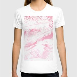 Girly Summer Pink White Tropical Palm Tree Fronds T-shirt