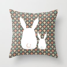 Bunny / Vintage pattern #1 Throw Pillow
