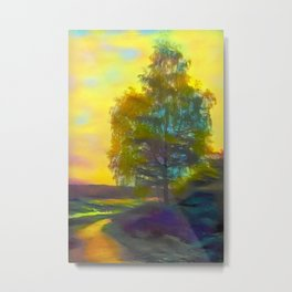 Lonely birch in autumn rural road Metal Print