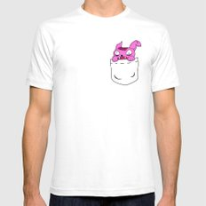 Pocket Zombie Rabbit Mens Fitted Tee White SMALL