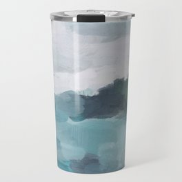 Aqua Blue Green Abstract Art Painting Travel Mug