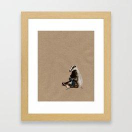 Badger Knitting a Scarf Framed Art Print