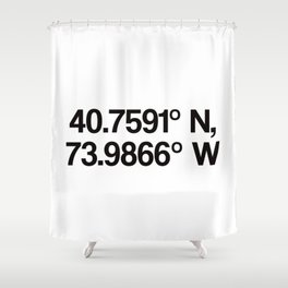 Coordinates of the Richard Rogers Theater - Home of Hamilton: The American Musical Shower Curtain