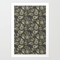 paisley Art Prints featuring Paisley by Sixter