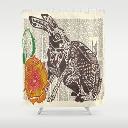 Jumpin' Jack Flash  (jack rabbit and cactus flower on dictionary page) Shower Curtain