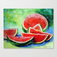 watermelon Canvas Prints featuring watermelon by OLHADARCHUK