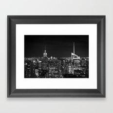 Manhattan skyline black and white Framed Art Print