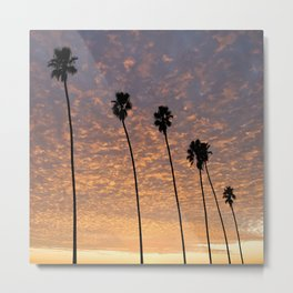 "Sunsets ""Tangerine Butterfly Palms"" Metal Print"