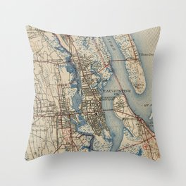 Vintage Map of St. Augustine Florida (1937) Throw Pillow