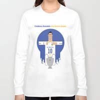 real madrid Long Sleeve T-shirts featuring Cristiano Ronaldo Real Madrid Illustration by Gary  Ralphs Illustrations