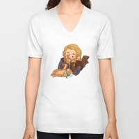 fili V-neck T-shirts featuring Fili and Kitten by Hattie Hedgehog