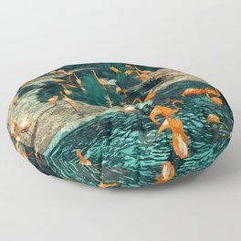 Flamingo Creek #flamingo #tropical #illustration Floor Pillow