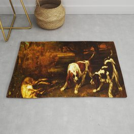 HUNTING DOGS WITH DEAD HARE, by Gustave Courbet, 1857 Rug