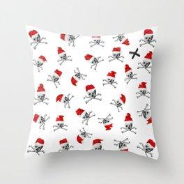 Christmas Santa Pirate Skulls on White Throw Pillow