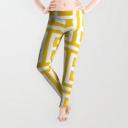 Large Gold and White Greek Key Pattern Leggings