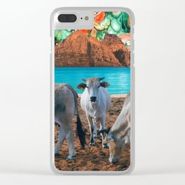 surreal cow pasture Clear iPhone Case