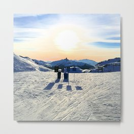 The snow, signs, shadows, sun, sky - and the surrounding! Metal Print