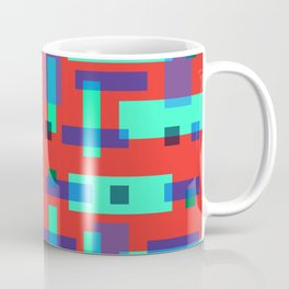 Blue and Green Block City on Red Coffee Mug