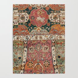 Persian Medallion Rug V // 16th Century Distressed Red Green Blue Flowery Colorful Ornate Pattern Poster