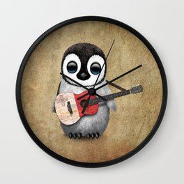 Baby Penguin Playing Maltese Flag Acoustic Guitar Wall Clock
