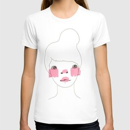 Line Drawing of a Girl in Neon  T-shirt