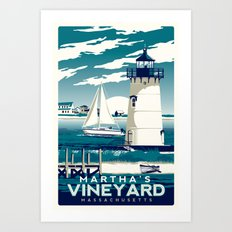 martha's vineyard vintage lighthouse print Art Print
