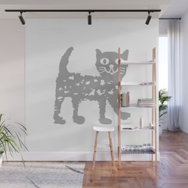 Gray cat pattern Wall Mural
