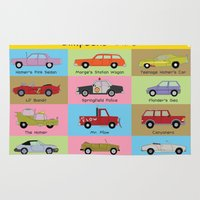 simpsons Area & Throw Rugs featuring Simpsons Cars by SIME Design