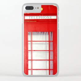Red telephone booth. Clear iPhone Case