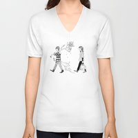 shopping V-neck T-shirts featuring Wood shopping by Skribblie