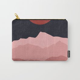 Full moon phase abstract contemporary landscape boho poster gradient colors of mountains Carry-All Pouch