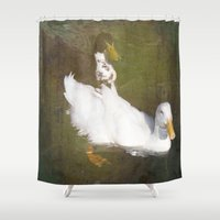ducks Shower Curtains featuring Two Ducks by Victoria Herrera