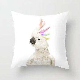 Cockatoo Rainbow Throw Pillow