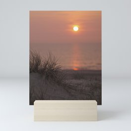 Sea view with sunset I Golden hour I Pastel colors I Beach grass I The Netherlands I Photography Mini Art Print