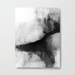 "Black and White Textured Abstract Painting ""Delve 2"" Metal Print"
