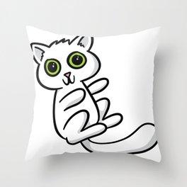 White Kitten Throw Pillow