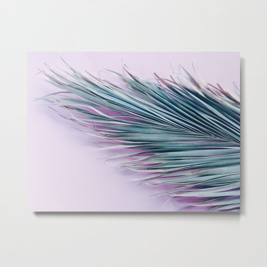 Palm leaf on pink Metal Print