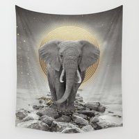 courage Wall Tapestries featuring Strength & Courage (Stay Gold Elephant) by soaring anchor designs