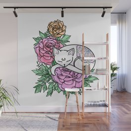 Cat and Roses Wall Mural