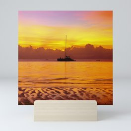 Tropical Sunset and Sailboat Silhouette in South Pacific Mini Art Print