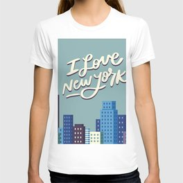 I Love New York Blue City Skyline T-shirt