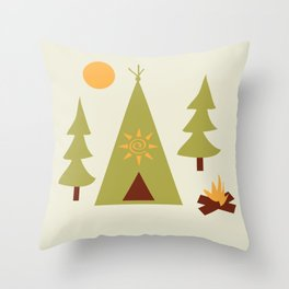 Woodland Camp-out Throw Pillow