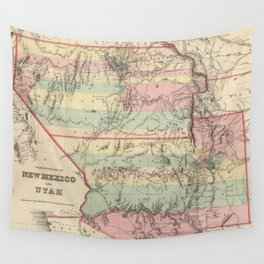 Vintage Map of New Mexico and Utah (1857) Wall Tapestry