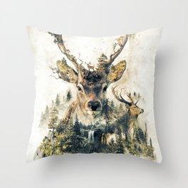 Deer Surrealism Throw Pillow